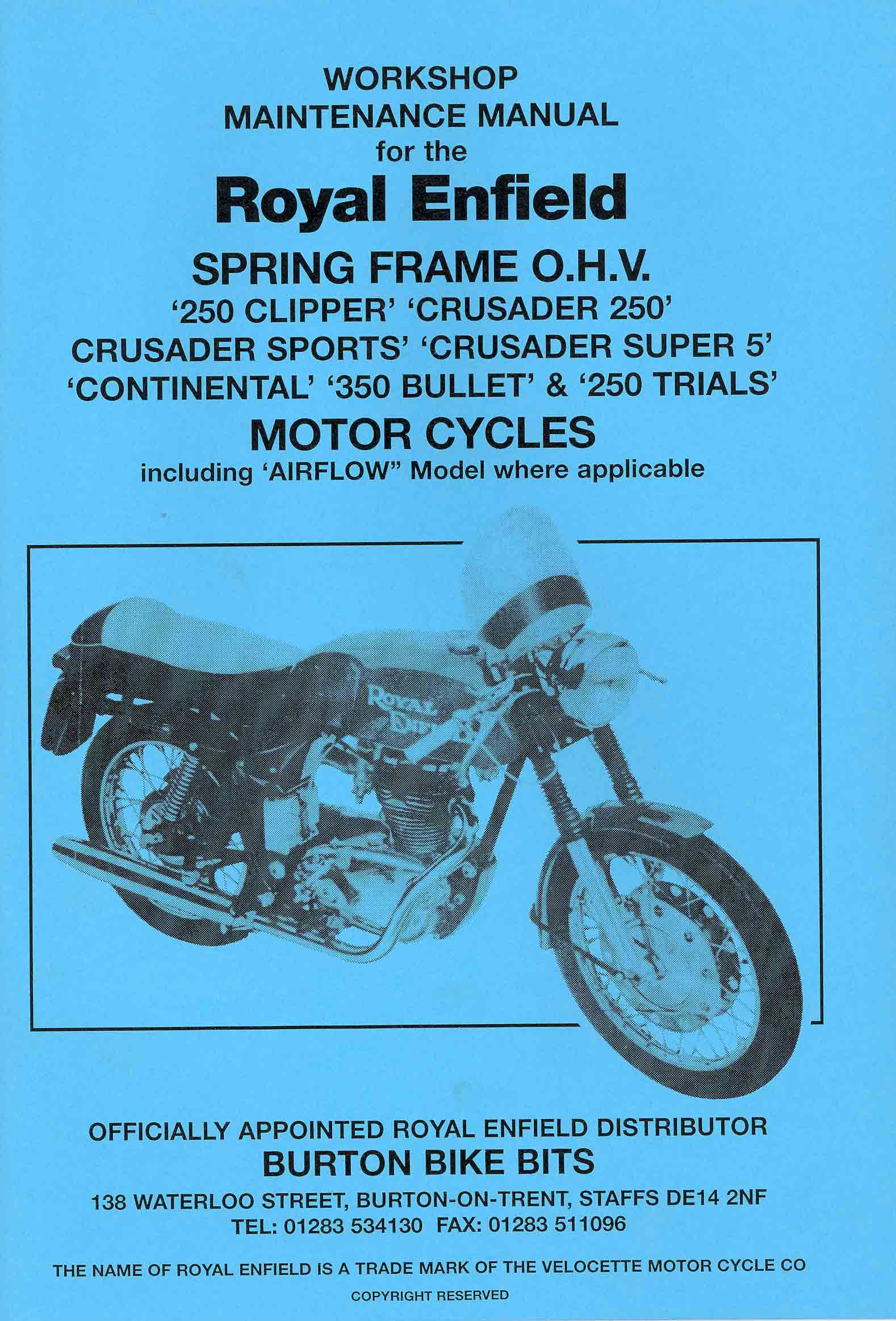 Parts Books Burton Bike Bits 1968 Triumph Tr250 Wiring Diagram Royal Enfield 250 Clipper Crusader Sports Super 5 Continental 350 Bullet Trials