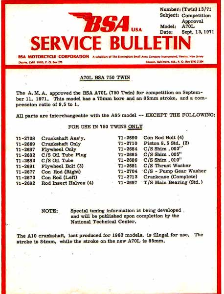 A70 Service Bulletin