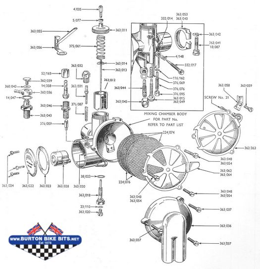 Amal 363 Carb Exploded View