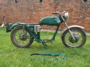 BSA A65 Rolling Chassis for sale oil in frame 1971